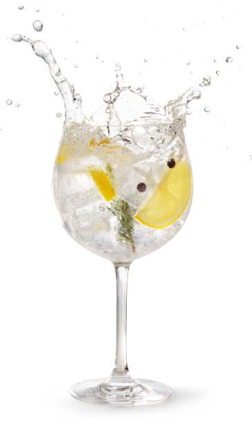 spetterend gintonic geïsoleerd op wit - gin tonic stockfoto's en -beelden