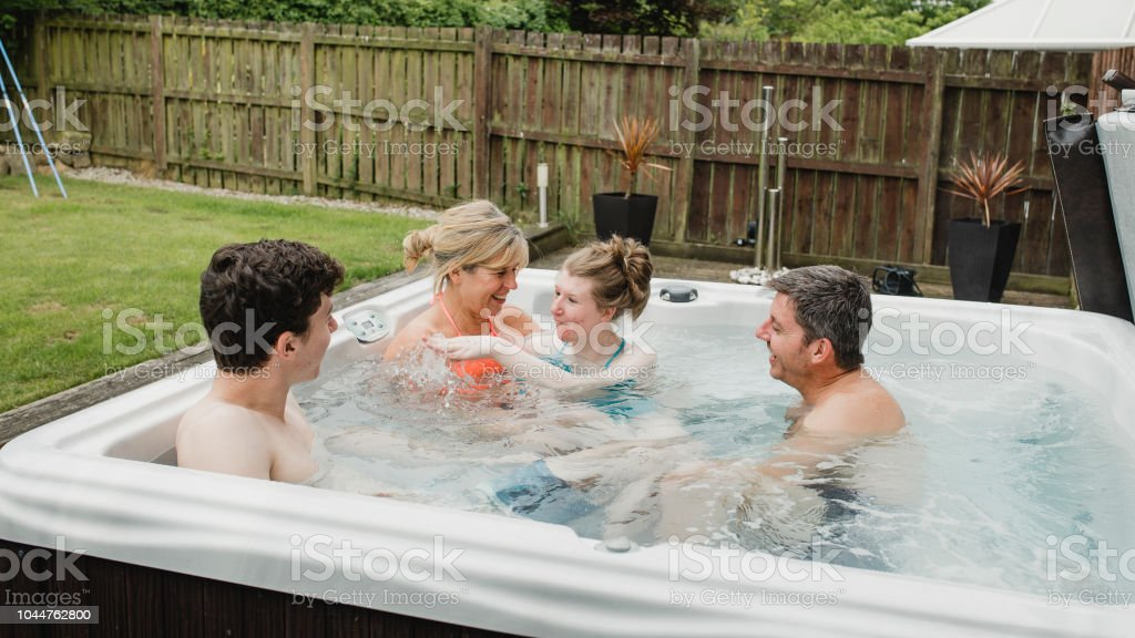 Splashing in the Hydrotherapy Hot Tub stock photo