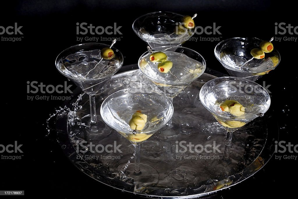 Splashing Martinis royalty-free stock photo