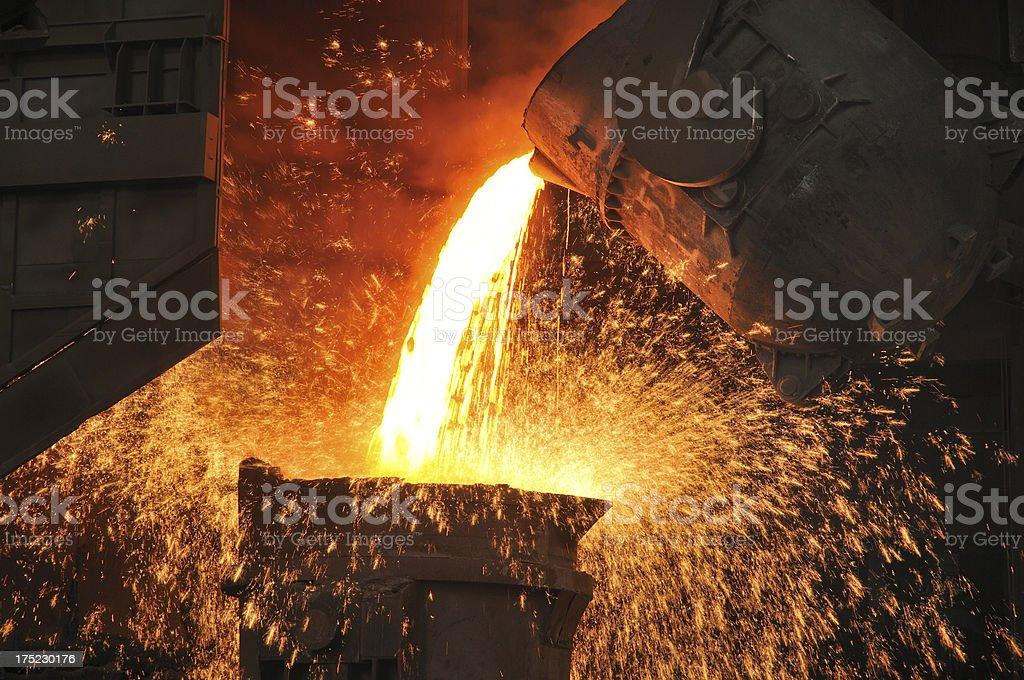 Splashing molten iron stock photo