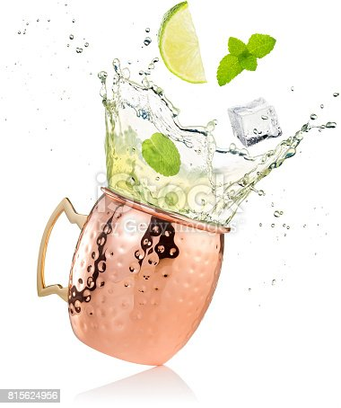 istock splashing moscow mule cocktail in copper mug 815624956
