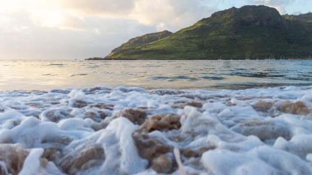 Splashing Ocean Waves in Kauai, Hawaii stock photo