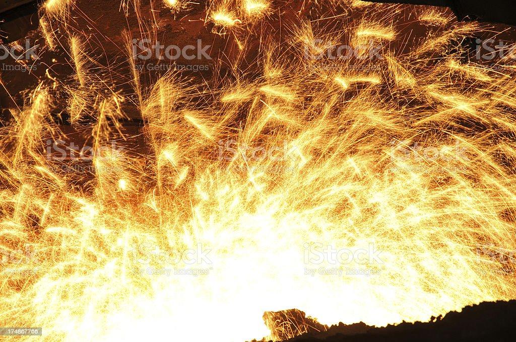 Splashing of molten iron royalty-free stock photo