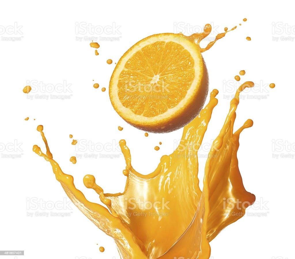 splashing orange juice stock photo