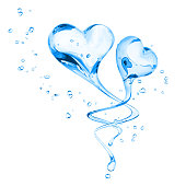 Splashing two hearts water abstract background, symbol love, Valentine's Day, isolated 3d rendering