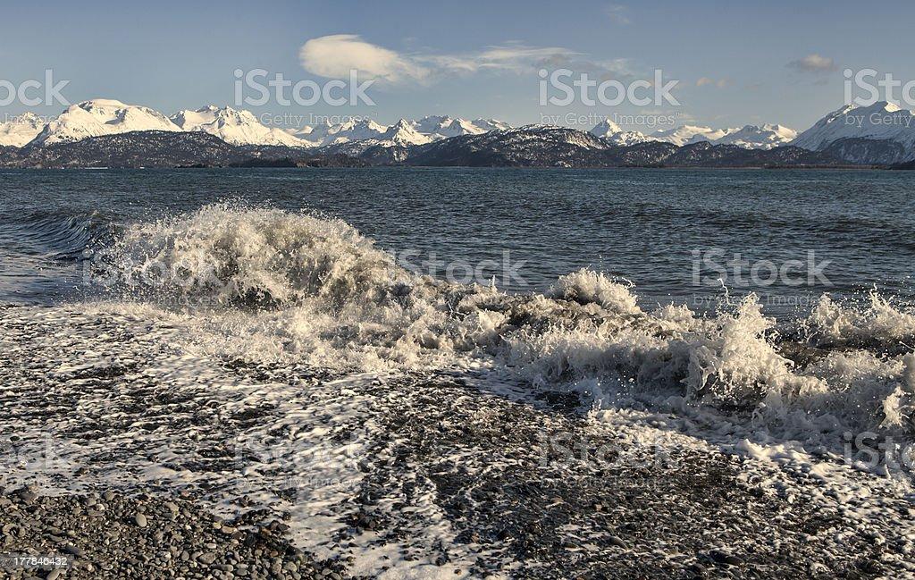Splashing wave at Land's End stock photo