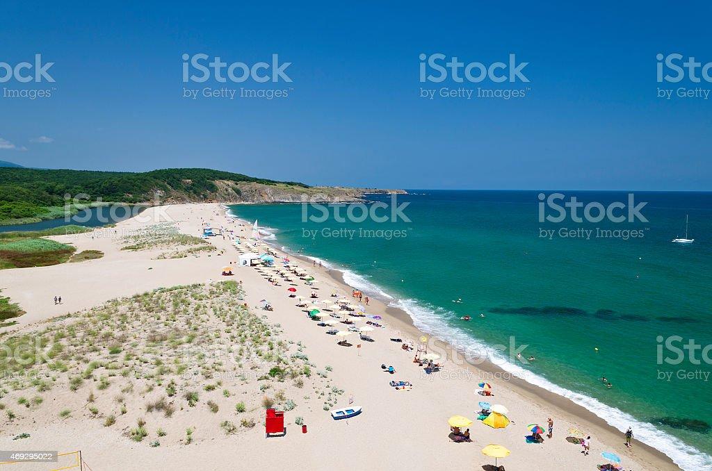 Splashing waves on the beach - Bulgarian seaside landscapes stock photo
