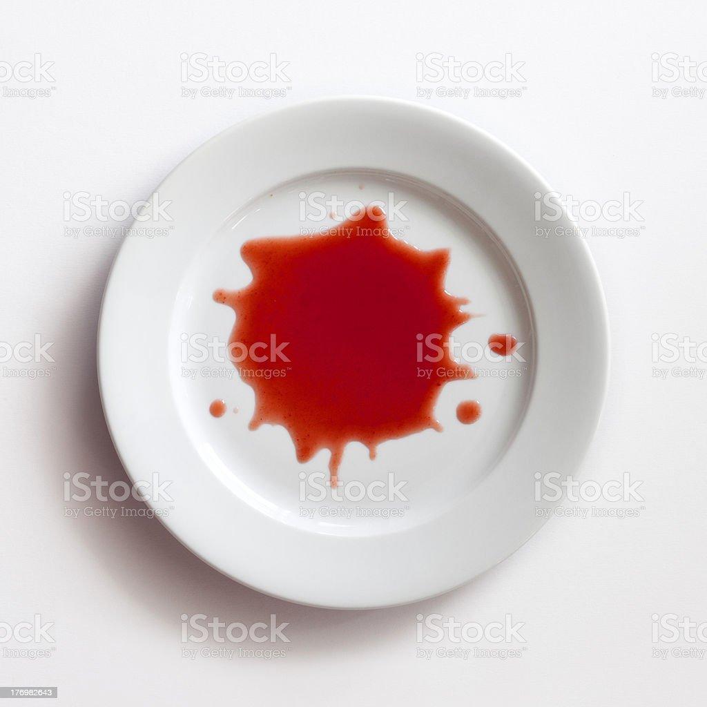 Splatter on dish stock photo