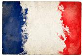 A splatter grunge effect tricolor flag of FranceThis series: