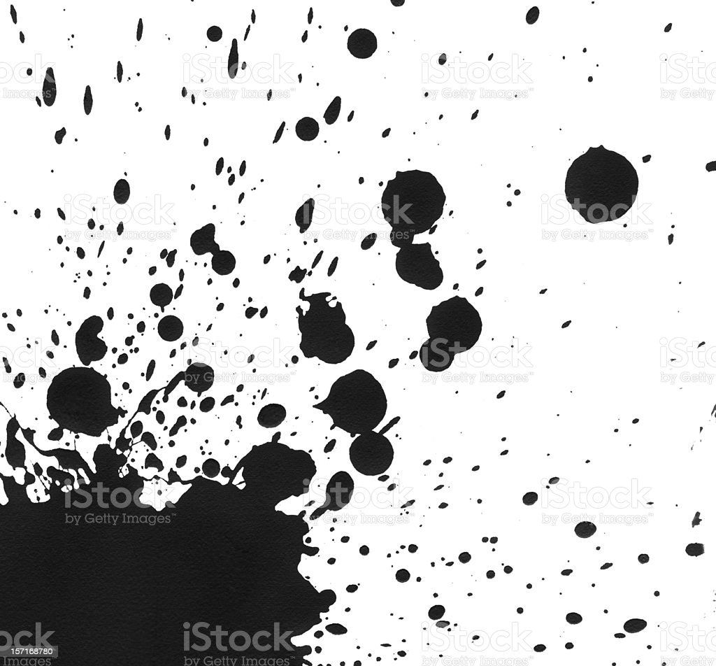 Splattered Black Paint on White Canvas royalty-free stock photo