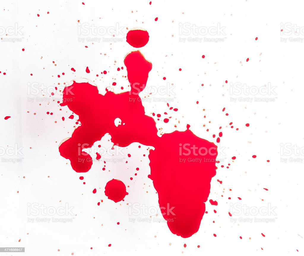 Splattered blood stains on a white background royalty-free stock photo