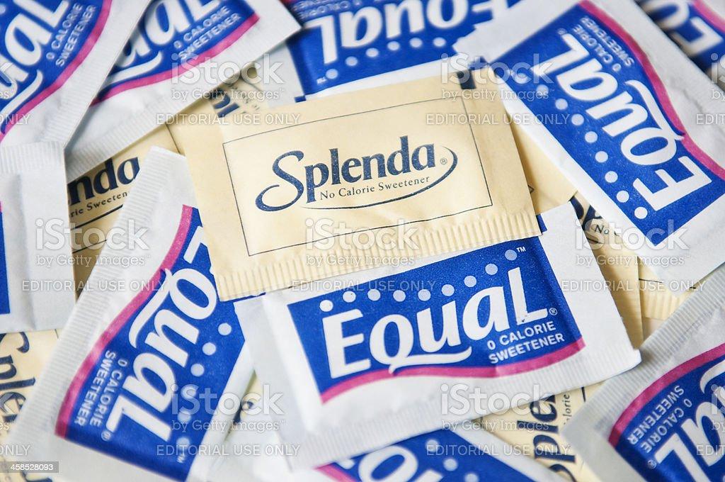 Splenda and Equal artificial Sweeteners stock photo