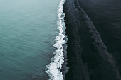 Splendid black sand beach in Vik, Iceland