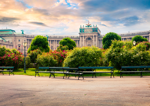 Splendid Morning View Of Volksgarten With Hofburg Imperial Palace Stock Photo - Download Image Now