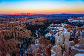 Splendid winter sunset view of Bryce Canyon National Park in Utah.