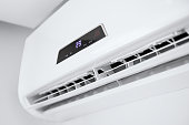istock Split air conditioner on a white wall. 586057100