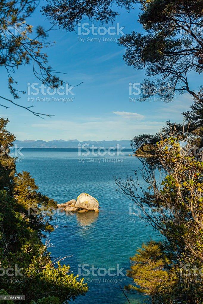 Split Apple Rock in Abel Tasman National Park stock photo