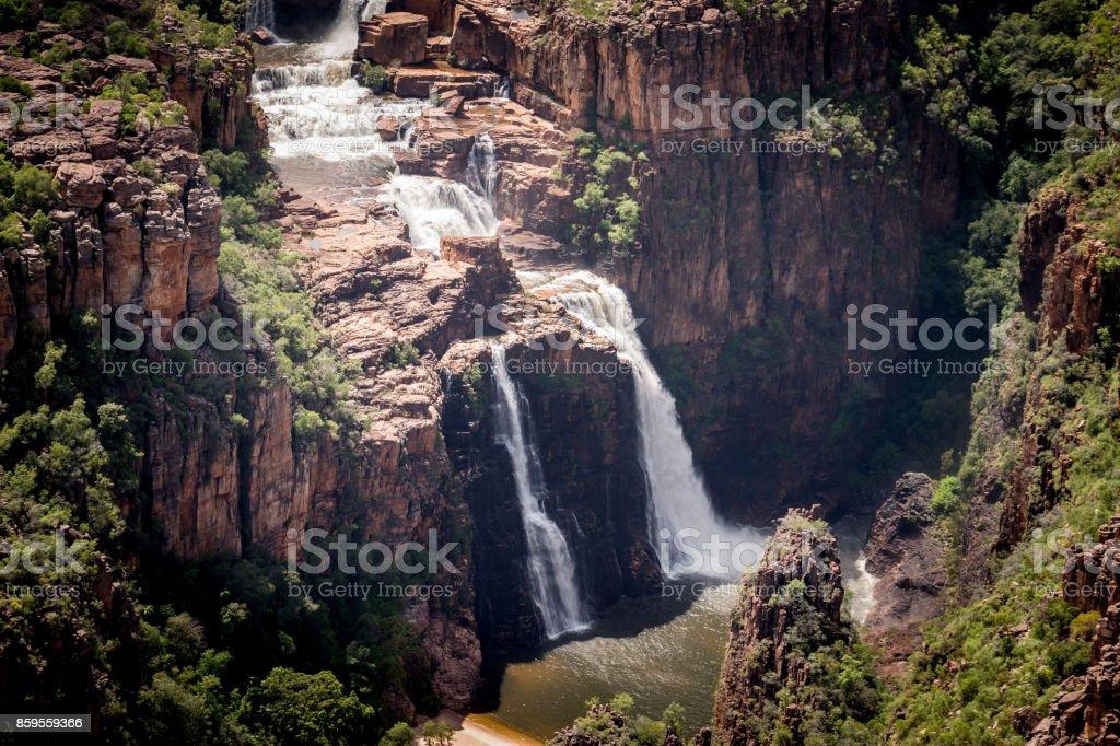 split cascade of Twin Falls, Kakadu stock photo