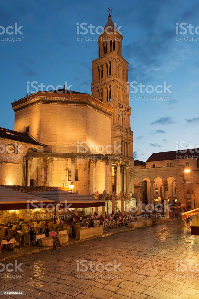Split cathedral and Roman ruins stock photo