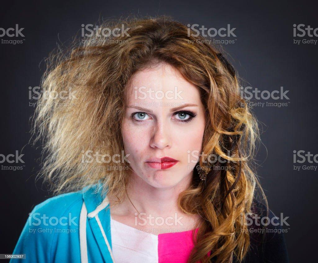 Split Faced Model stock photo