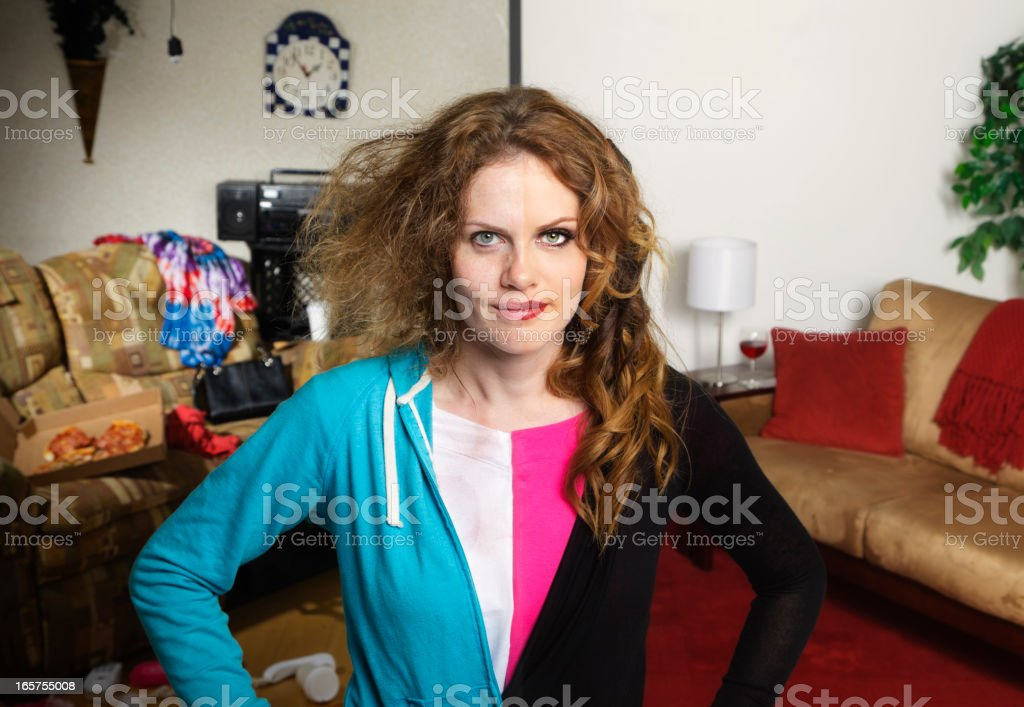 Split Faced Woman stock photo