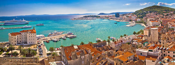 Split historic waterfront panoramic aerial view, Dalmatia, Croatia Split historic waterfront panoramic aerial view, Dalmatia, Croatia croatian culture stock pictures, royalty-free photos & images