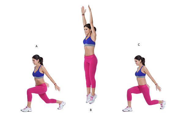 split lunge jump - lunge stock photos and pictures