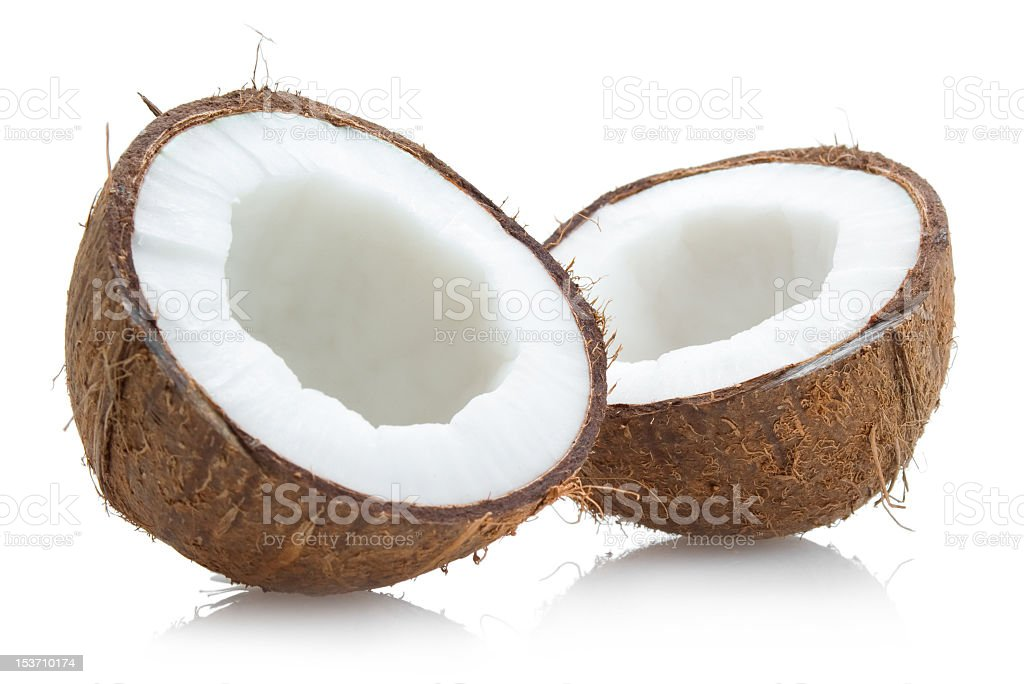 Split open fresh coconut isolated on white royalty-free stock photo