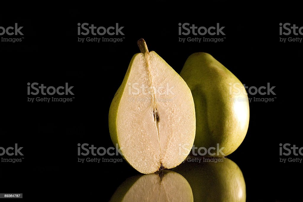 Split Pear on Glass royalty free stockfoto