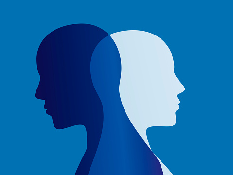 istock Split personality. Bipolar disorder mind mental. Mood disorder. Dual personality concept. Blue background 1035719412