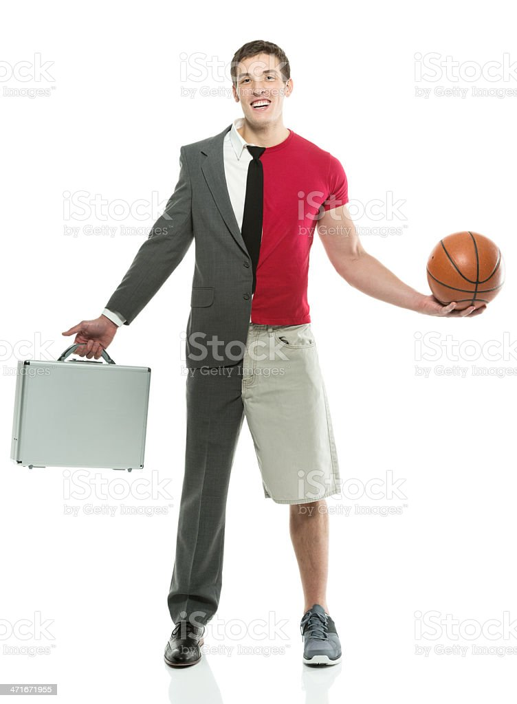 Split personality man with briefcase and basketball stock photo