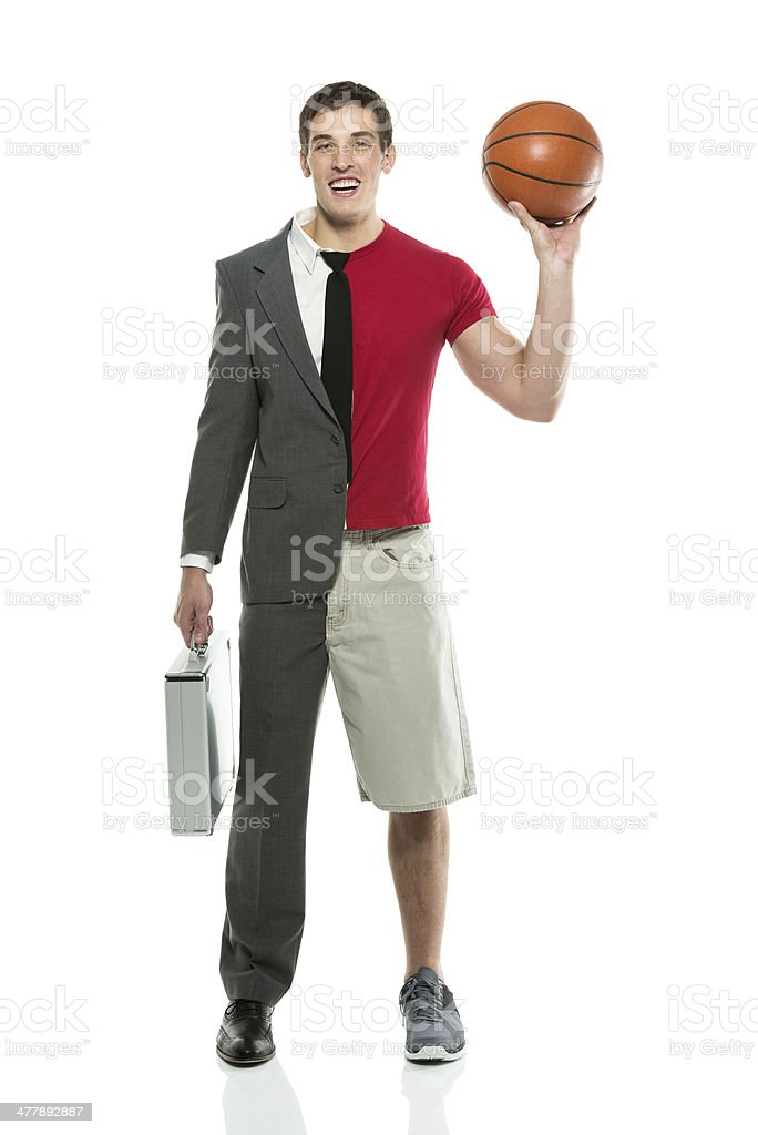 Split personality man with briefcase and basketball royalty-free stock photo