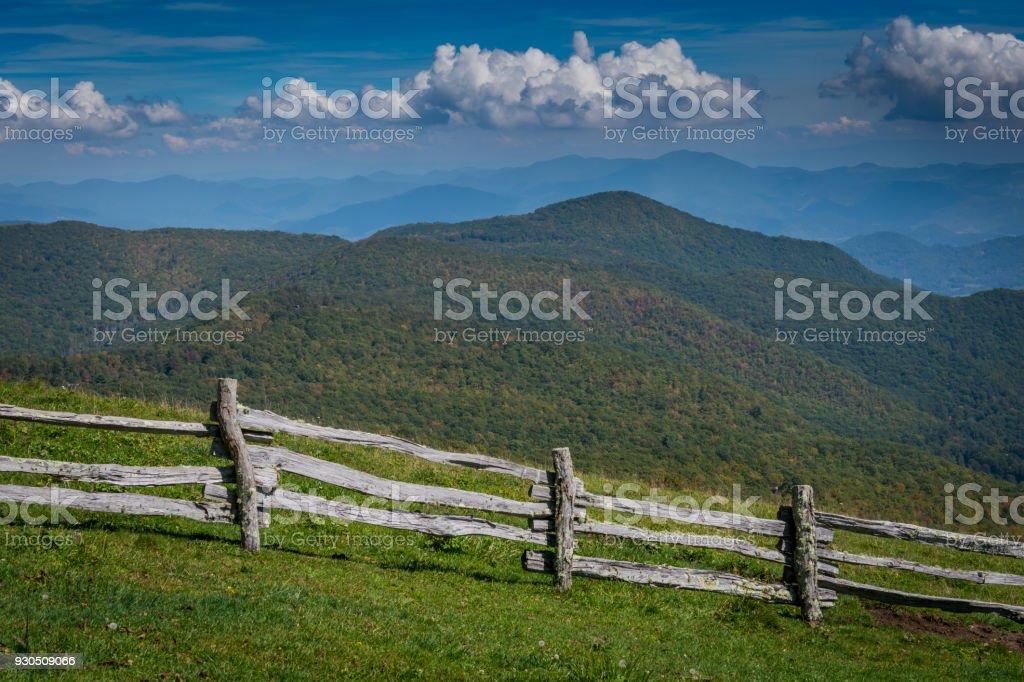 Split Rail Fence and Southern Appalachians stock photo