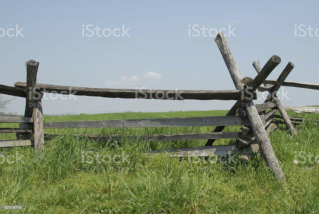 Split rail fence at Bloody Lane stock photo