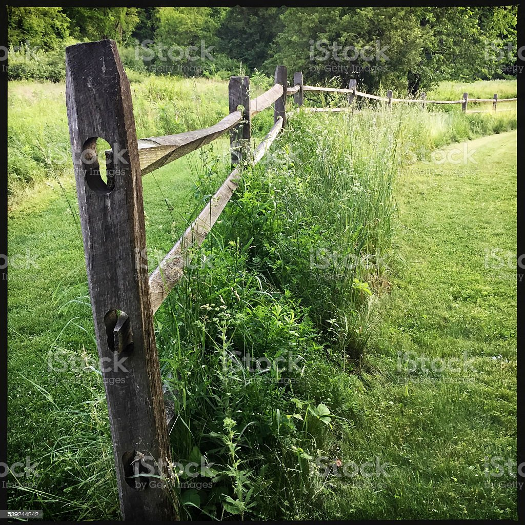 Split Rail Fence in Nature Area royalty-free stock photo