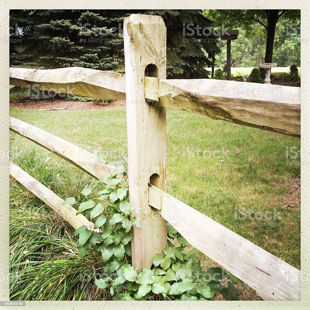 Split Rail Fence in Nature Setting stock photo