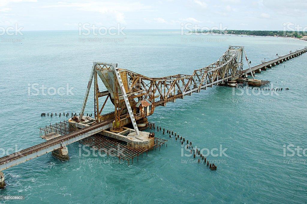 Split Railway Bridge ar Pamban stock photo