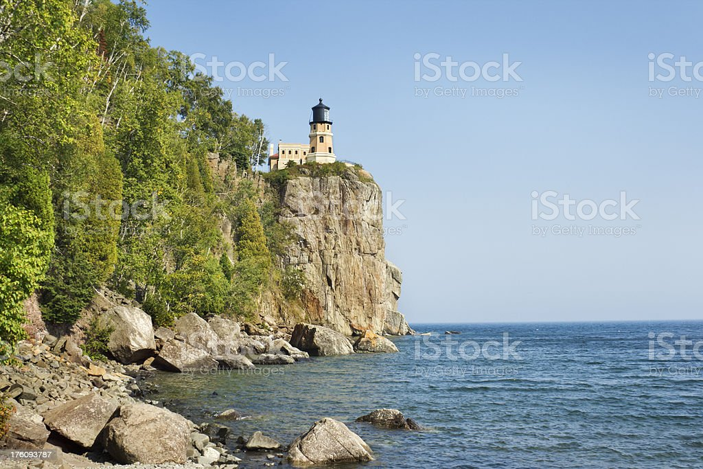 Split Rock Lighthouse on Lake Superior Hz stock photo