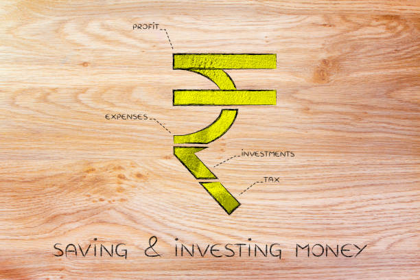 split rupee currency symbol with budgeting captions, saving & investing money stock photo