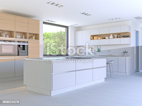 184393512 istock photo Split Screen - Drawing and Photo of New Kitchen 909024378