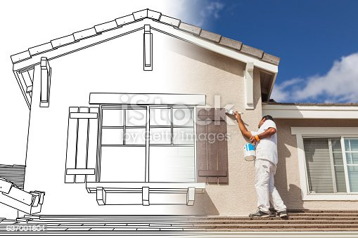 534196421 istock photo Split Screen of Drawing and Photo of House Painter Painting 637001604