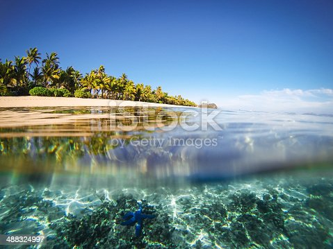 Split shot of tropical island. Over underwater