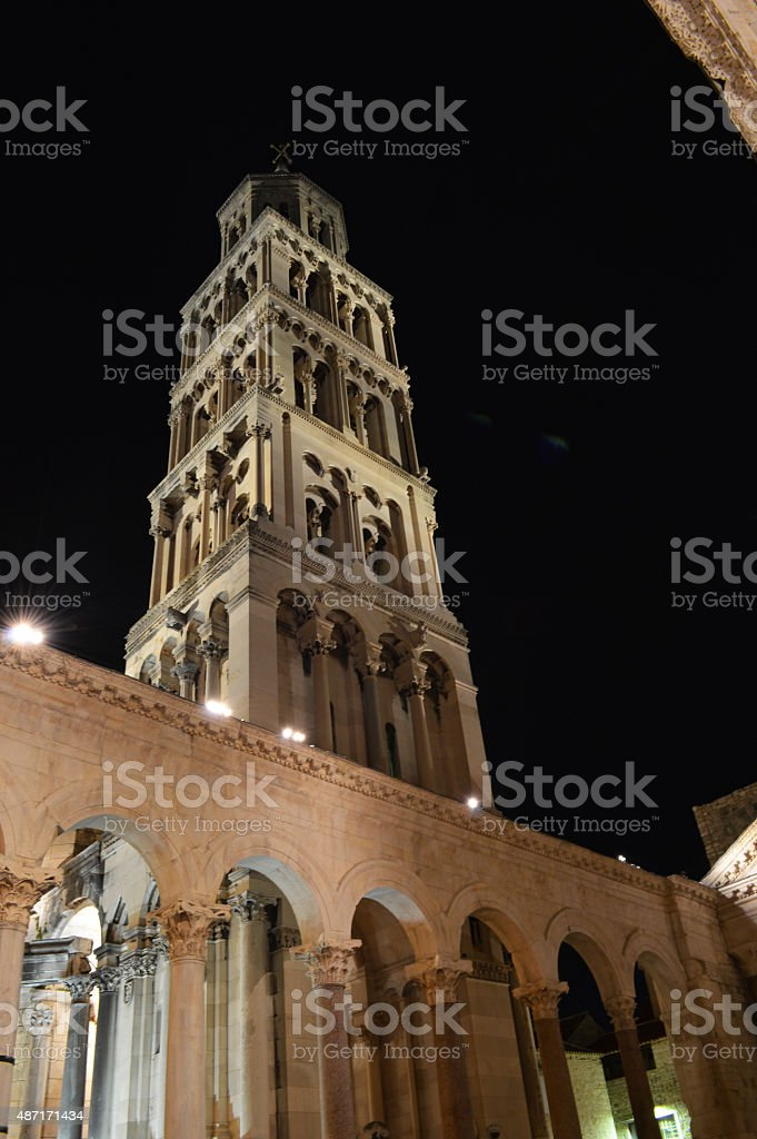 split tower of Cathedral of Saint Duje by night stock photo