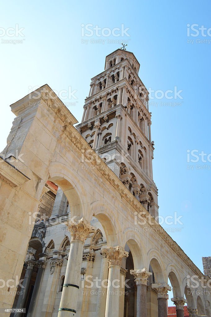 split tower of Cathedral of Saint Duje stock photo