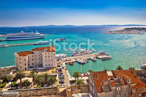 istock Split waterfront and harboar aerial view 493515176