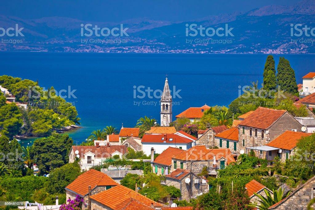 Splitska bay on Brac island view, Dalmatia region of Croatia stock photo