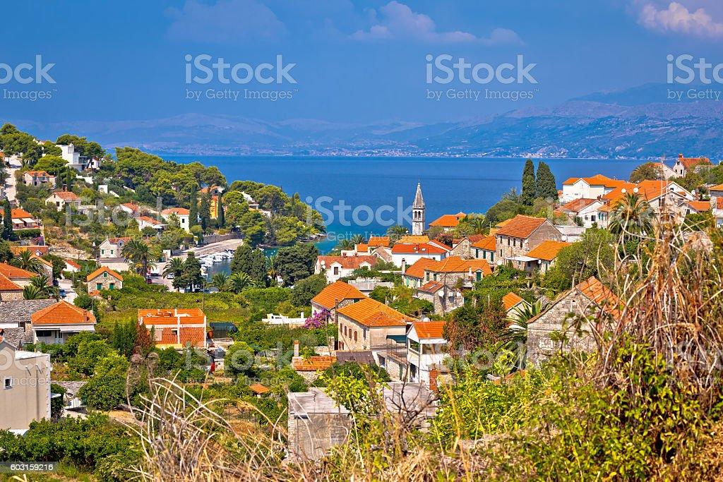 Splitska bay on Brac island view stock photo