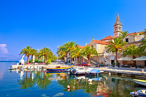 Splitska on Brac island seafront and landmarks view, Dalmatia region of Croatia