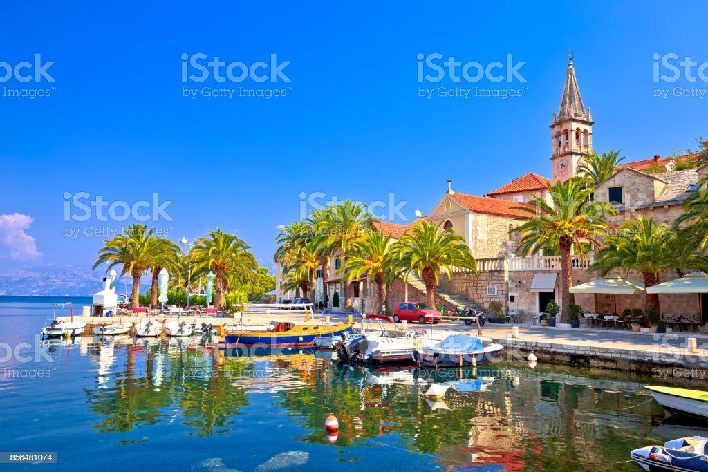 Splitska on Brac island seafront and landmarks view, Dalmatia region of Croatia stock photo