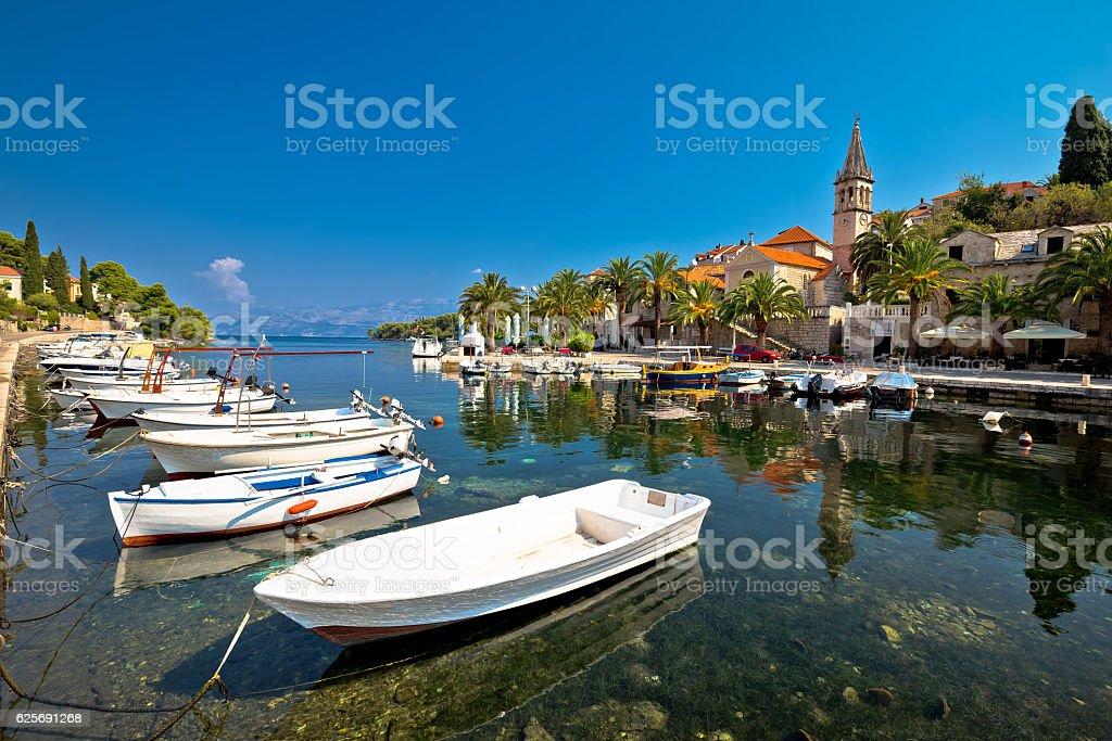 Splitska village on Brac island waterfront view stock photo
